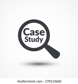 Case study icon. Magnifying glass with words case study on white background