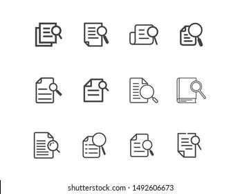 Case study icons set - line vector illustration eps10