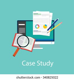 case study studies icon flat paper book symbol chart