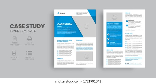 Case Study Template, Flyer Template, Double Side Flyer, Brochure Cover, Poster design with Case Study Booklet