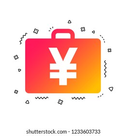 Case with Yen JPY sign icon. Briefcase button. Colorful geometric shapes. Gradient case icon design.  Vector