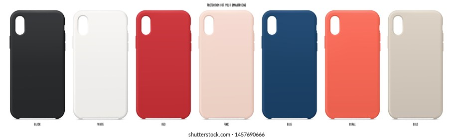 cases set for smartphone with shadow isolated on white background. realistic and detailed silicone protection for mobile phone. stock vector illustration