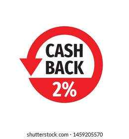 Cash back 2% money refound - concept badge vector illustration on white background. Emblem label sticker. Graphic design element.