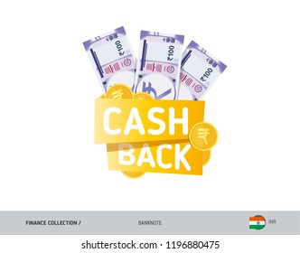 Cash back banner with 100 Indian Rupee Banknotes and coins. Flat style vector illustration. Shopping and sales concept.