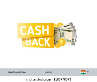 Cash back banner with 500 Indian Rupee Banknotes and coins. Flat style vector illustration. Shopping and sales concept.