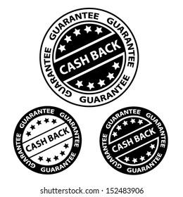 Cash back black color stamp, sticker, tag, label, sign, symbol. Vector illustration.