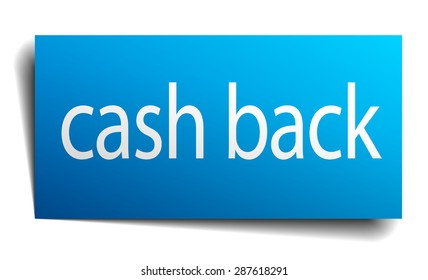 cash back blue square isolated paper sign on white