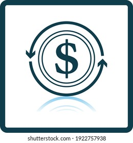 Cash Back Coin Icon. Square Shadow Reflection Design. Vector Illustration.