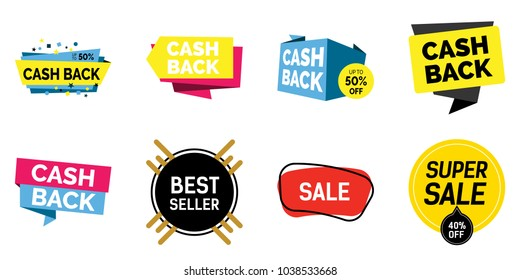 Cash back, colorful lettering set. Super sale, best seller phrases, shopping, retail, announcement. Calligraphy, handwritten text can be used for leaflets, posters, banners, labels.