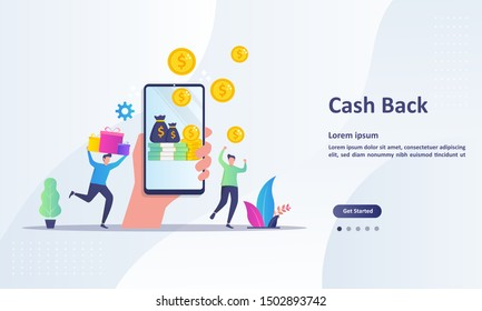 Cash Back concept design, people getting cash rewards and gift from online shopping, Suitable for web landing page, ui, mobile app, banner template. Vector Illustration