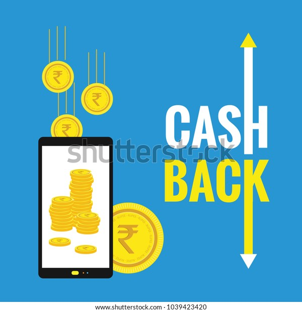 Cash Back Concept Vector. Realistic Wallet And Gold Coins. Online Payment, Shopping. Money Refund Label. Isolated Illustration