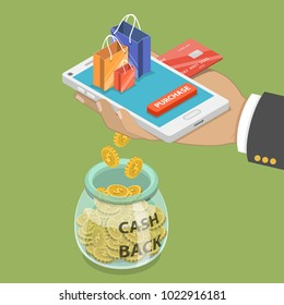 Cash back flat isometric vector concept of loyalty program campaign, money refund.