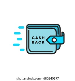 Cash back Flat linear wallet icon, sign for money