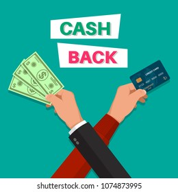 Cash back. Hands with the banknote and the credit card. Banner. A bonus upon purchase. Incentive action. Flat style. Vector illustration.