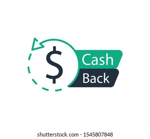 Cash back icon. Banner sign. Vector logo.