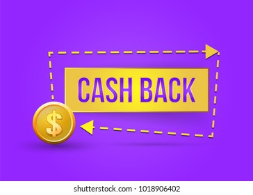 Cash back icon. Symbol is return of Money. Sign of a refund of dollars. Business. Isolated sticker, labels, emblem .vector illustration