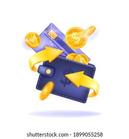 Cash back, money saving vector concept with dollar coins, wallet, arrows, credit card, isolated on white. Guarantee bonus program finance sticker. Online shopping, cash back sale offer emblem, logo