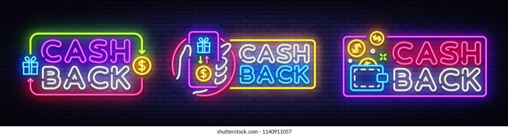 Cash Back neon signs collection vector design template. Cash Back symbols neon logo, light banner design element colorful modern design trend, night bright advertising, bright sign. Vector