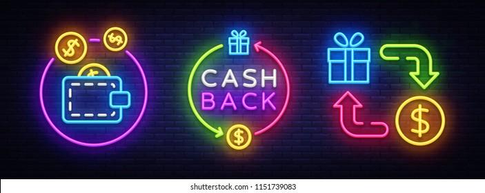 Cash Back Neon Symbols Collection Vector. Cash Back neon sign, design template, modern trend design, casino neon sign board, night bright advertising, light banner, light art. Vector illustration