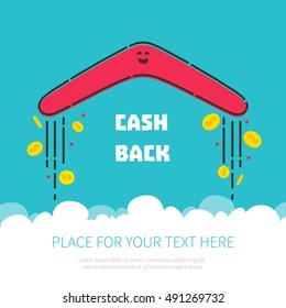 Cash back reward concept. Returning boomerang with gold dollar coins in the sky. Money rebate design template in cartoon style. Vector illustration.