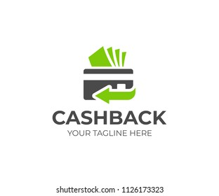 Cash back service logo template. Credit card and money vector design. Money refund logotype