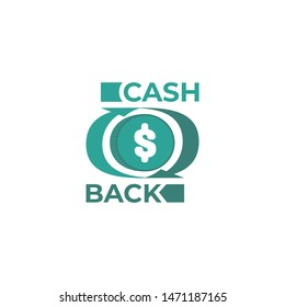 Cash back service vector logo template with coin and arrow around money.  Cashback refund green color business logotype