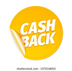 Cash back. Shining gold sticker with curved corner. Cashback word letters. Icon labels emblem 3d vector realistic. Color Illustration.