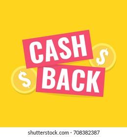 Cash back sticker, labels, emblem. Cashback or money refund concept. Flat vector illustration.