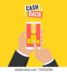 Cash back sticker, labels, emblem. Gold coins in smartphone. Cashback or money refund concept. Flat vector illustration.