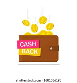 Cash back in wallet. Cashback icon with coins. Finance saving concept. Save money tag. Credit pay of customer. Money refund on isolated background. Payment investment banner. Quarantee. Flat vector