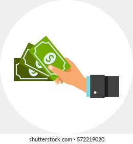 Cash Concept Icon with Dollar Banknotes
