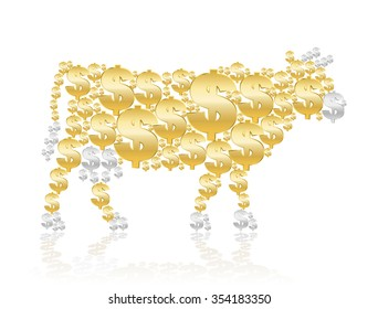 Cash cow composed of golden and silver dollar symbols. Isolated vector illustration on white background.