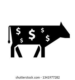 Cash cow silhouette icon. Clipart image isolated on white background