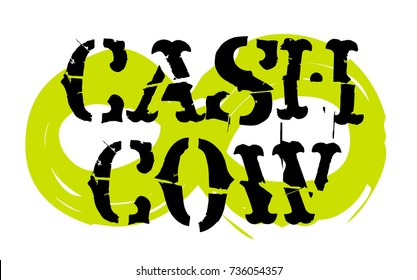 Cash cow sticker. Authentic design graphic stamp. Original series