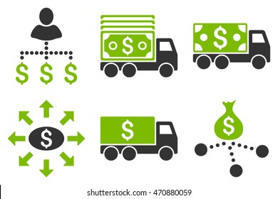 Cash Delivery vector icons. Pictogram style is bicolor eco green and gray flat icons with rounded angles on a white background.