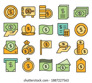 cash, dollar coin and money bank icons vector color design