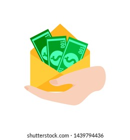 Cash in the envelope holds in the hand of a businessman. Financial gift concept. American dollars. Vector illustration flat design