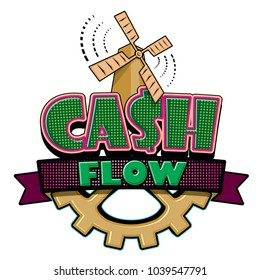 Cash Flow abstract emblem isolated on white background