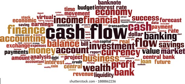 Cash flow cloud concept. Collage made of words about cash flow. Vector illustration