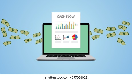 cash flow illustration with laptop money and graph chart