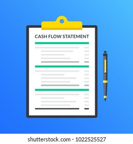 Cash flow statement. Clipboard with financial statement, financial report and pen. Modern flat design graphic elements. Vector illustration
