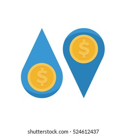 Cash flow water droplets with dollar coin vector illustration icon