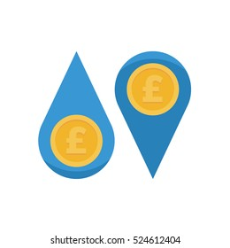 Cash flow water droplets with pound coin vector illustration icon