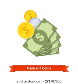 Cash, green dollars, gold and silver coins. Flat style vector icon isolated on white background.
