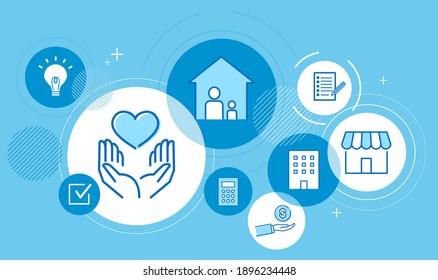 cash handout graphic image,blue background,vector illustration
