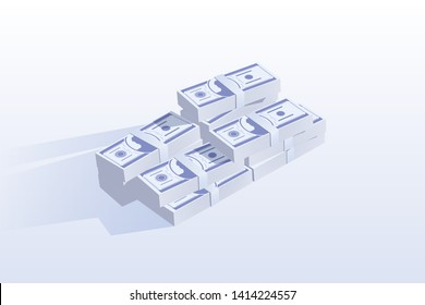 Cash heap, pile isometric vector illustration. Paper money stacks, banknote wads, wealth. Bank deposit, credit loan. Savings, salary payment, wages. Lottery win, jackpot prize. Finances investment