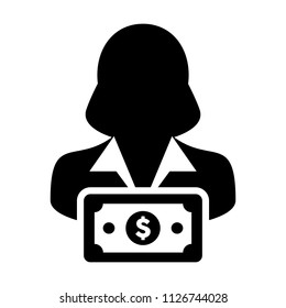 Cash icon vector female user person profile avatar with dollar sign currency money symbol for banking and finance business in flat color glyph pictogram illustration