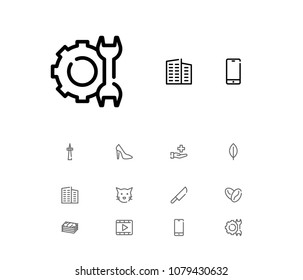 Cash icon with video, cat and television symbols. Set of pussy, film, leaves icons and arabica bean concept. Editable vector elements for logo app UI design.
