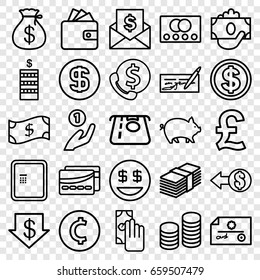 Cash icons set. set of 25 cash outline icons such as credit card, atm, pig, coin, money sack, atm money withdraw, dollar down, wallet, card, coin, cash payment, crown, check