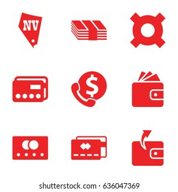 Cash icons set. set of 9 cash filled icons such as credit card, wallet, vegas, money, bank support